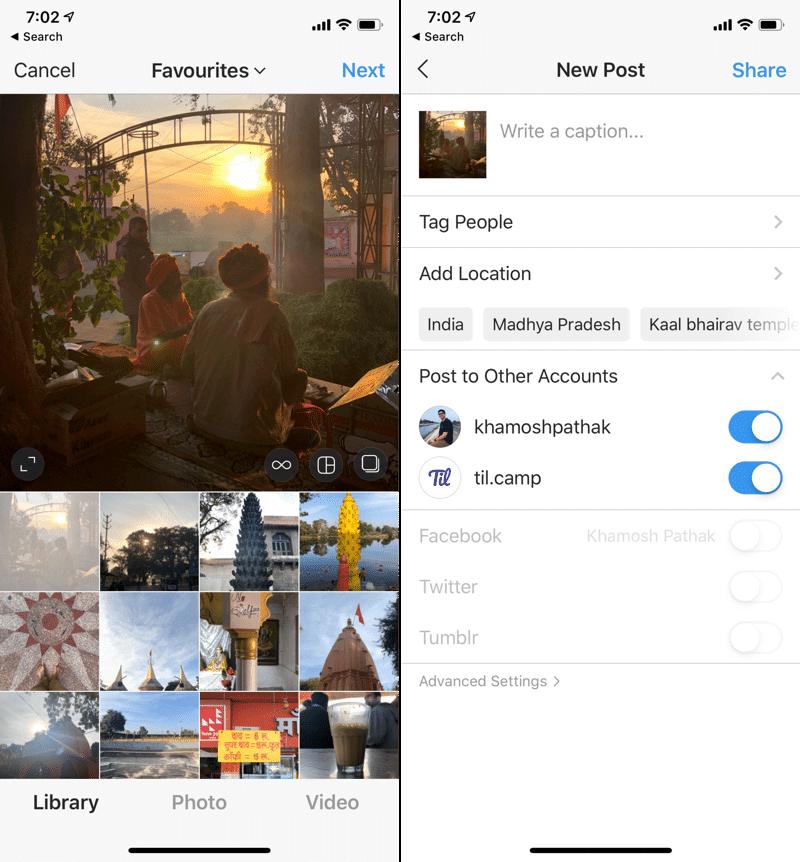 Dodawanie postów na kilku kontach Instagram